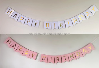 High Quality Happy Birthday Banner Gold Foil Printing Party Banner