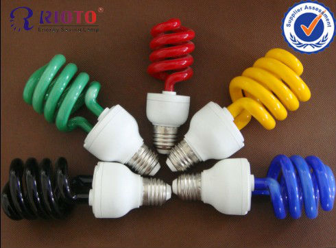9W CFL Colorful Half/Full Spiral Energy Saving Lamp