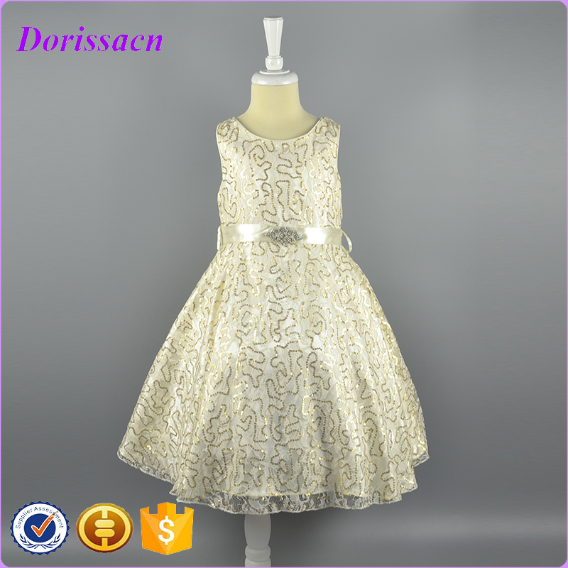 100% Polyester Material Embellished Model Kids Clothes Baby Children Party Wear Girl Dresses Evening Ball Gown Princess