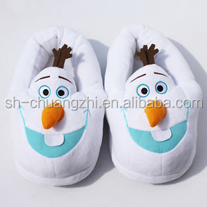 Plush baby slippers customized stuffed toys White snow man Plush Slippers cute animal stuffed toy slippers