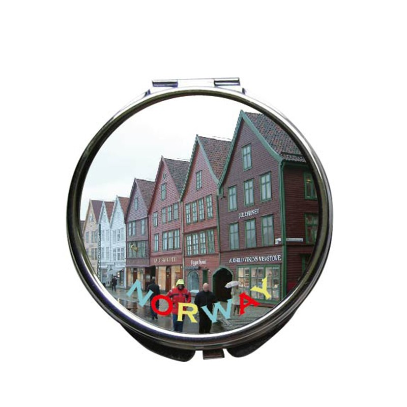 Wholesale Promotional Custom Metal Folding Round Jeweled Compact Mirror