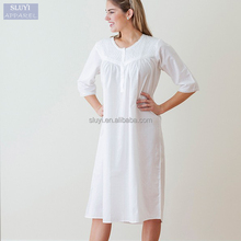 sexy new model nighties chiffon long sleeve white plus size nighty for ladies