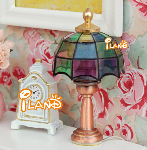 Dollhouse miniature electric lamp tiffany lamp colorful 12 for 12 volt table lamp