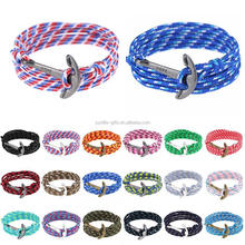 nylon rope silver metal anchor nautical rope anchor bracelet