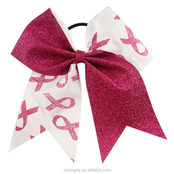 7 Inch Big Glitter Breast Cancer Cheer Bows For Sale HBW-1606021