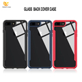 For iPhone 7 8 plus Hybrid Glass TPU Plastic Custom design Hard Clear Shockproof Case