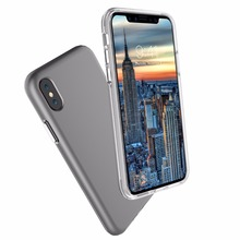 WinTop Grey Hard Back Panel + Clear Soft TPU Bumper Anti-Scratch Ultra Slim Case for Apple iPhone X