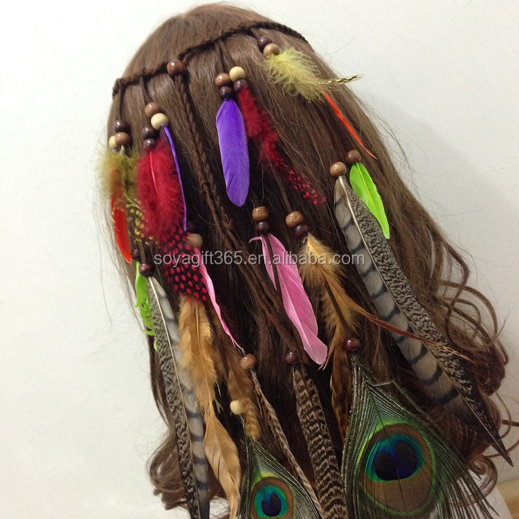 Indian Bohemia Style Fashion Peacock Feather Headband for Girls