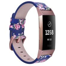 Newest Floral Fancy Genuine Leather Bracelet Watch Band 18mm Watch Strap for Fitbit Charge 3 Smart Bands