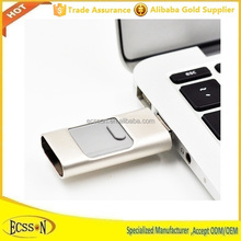 3 In 1 Aluminum flash drive usb for iphone , ipad and Android mobiles usb OTG