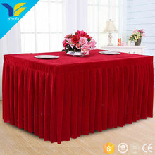 Customized red hall hotel wedding table cover 100% velvet square decorative table skirt