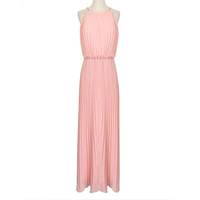 WF-DW064 Fashion Sleeveless Pink Long Dress Design Chiffon Material Maxi Dress Women Clothes Pleated Summer Casual Dress