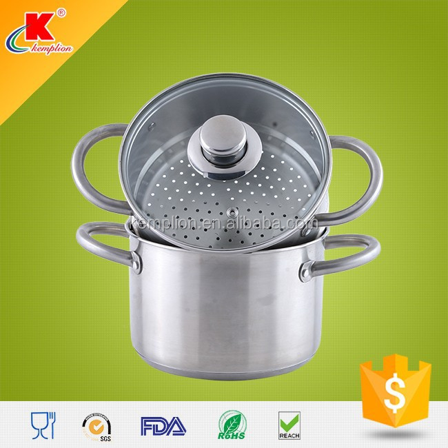 innovative kitchenware induction ss304 glass lid steamer set