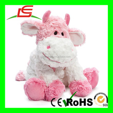 Beauty plush embroider pink stuffed cow toy for sale