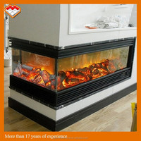 Indoor used wall mounted style selections 3 sided electric fireplace with led flame guangzhou factory direct sales