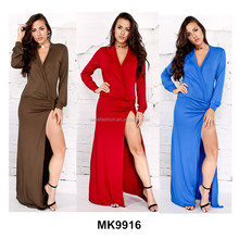 High quality 3 colors thigh split long sleeves sexy ladies tight evening maxi dress women