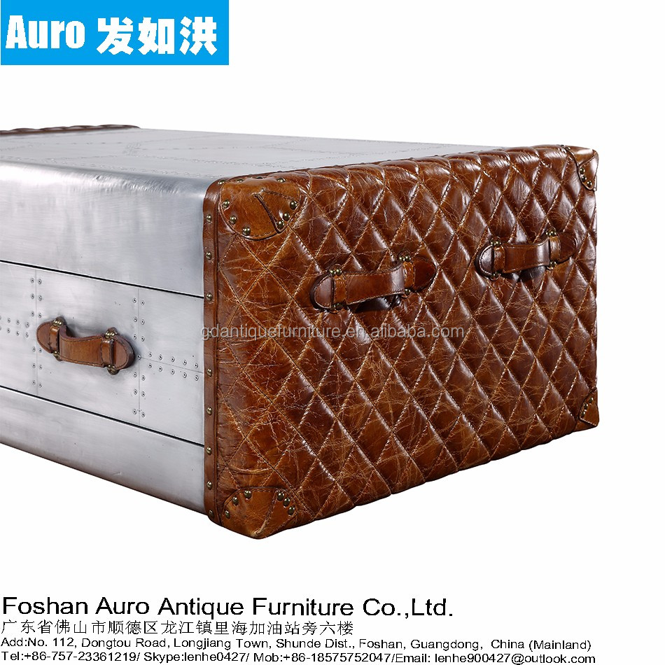 Aluminum covered Aviator Coffee Table Trunk CT01