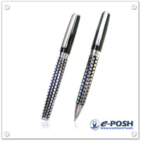 Classical etching metal ball point pen and cap-off rollerball pen