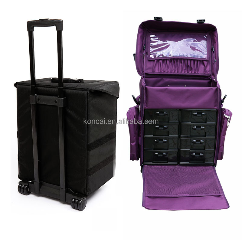 Travel nylon hairdresser rolling train case make-up box with abs drawers and clear extra bags