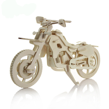 Summer stalls supply engage in popular promotional wooden motorbike DIY 3d puzzle