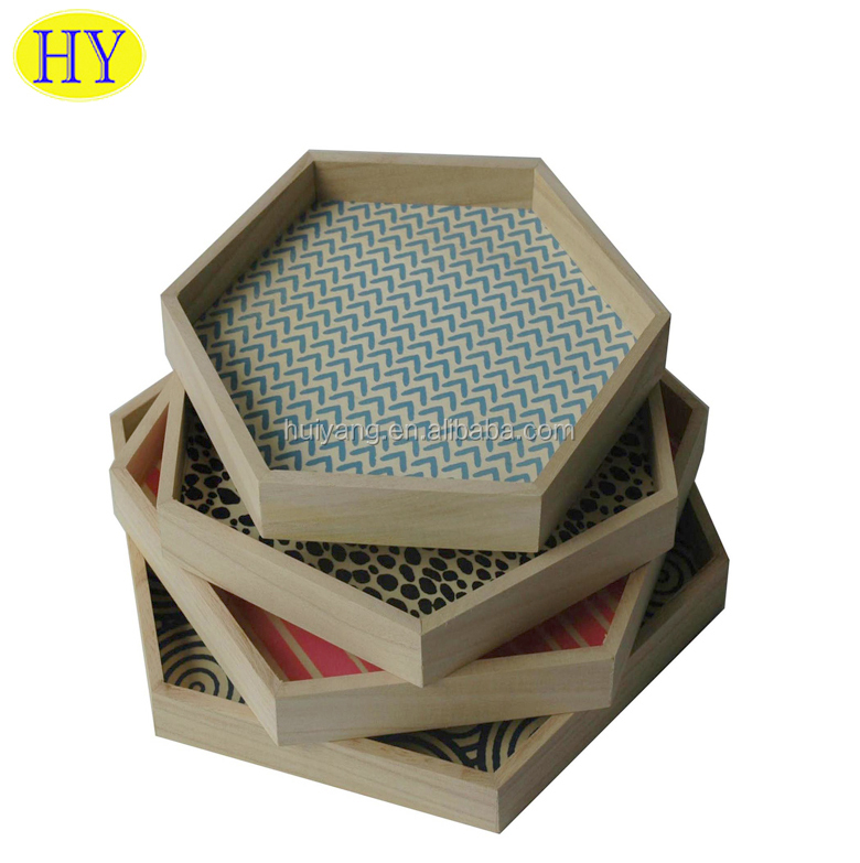 Unfinished Hexagon Handmade Wooden Serving Tray