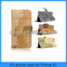 For iphone 5c case map design leather phone cases