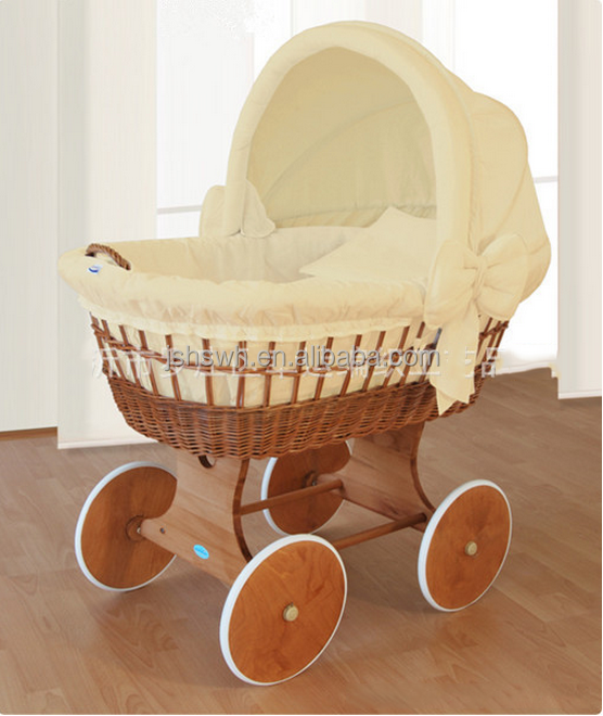 Eco-friendly handmade Baby Moses basket with rocking stand wicker Baby Pod basket