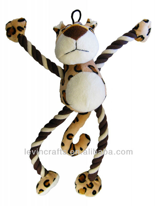 Dog and Co Pull My Leg Leopard Plush Rope Dog Toy