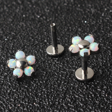 ASTM F136 Titanium Internally Threaded Piercing Labret Tragus Cartilage Stud Jewelry with 5 Petal Cabochon Opal Flower Top