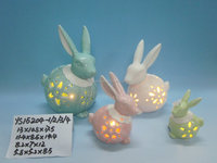 ceramic with LED light easter bunny for party decor