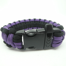 Manufacturer supply 100% handmade 2 color paracord bracelet with Whistle plastic buckles