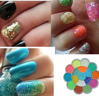 12 Color Metal Glitter Nail Art Tool Kit Acrylic UV Powder Dust gem Polish Nail Tools