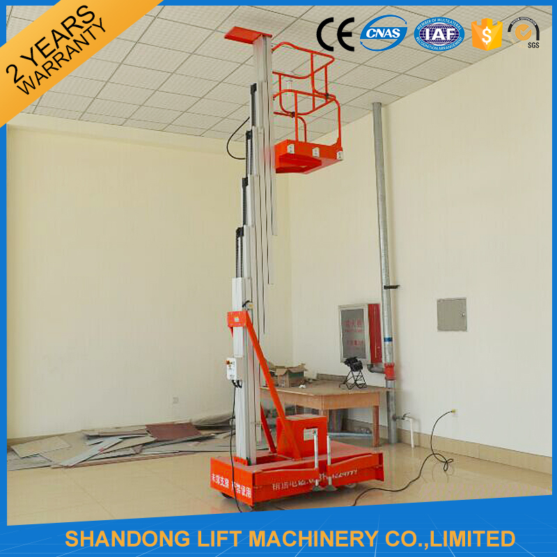 6m light weight vertical man lift for leaning