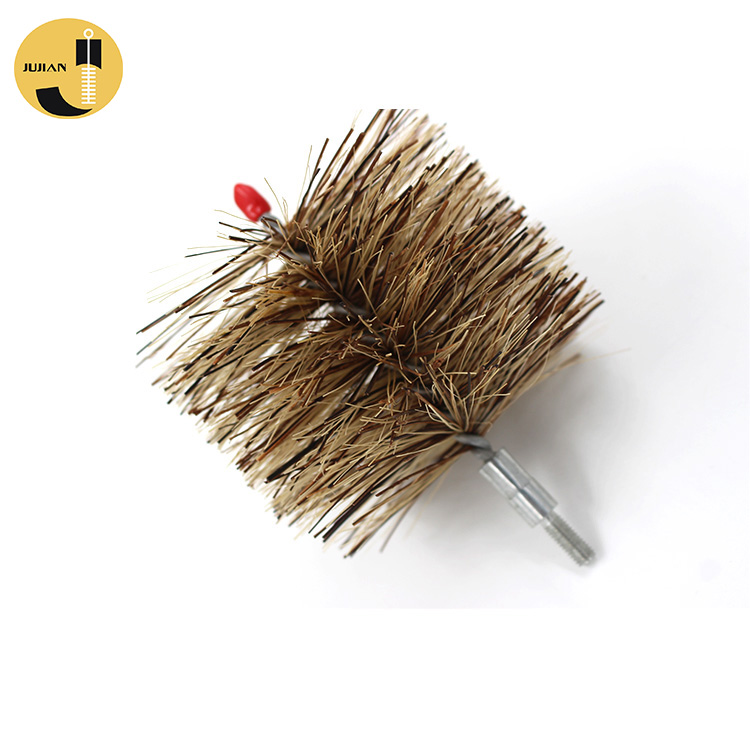 4inch Pellet Stove Auger Spirals Image Flue Fiber Mixing Tip Threaded Cleaning Polyester Chimney Pipe Brush