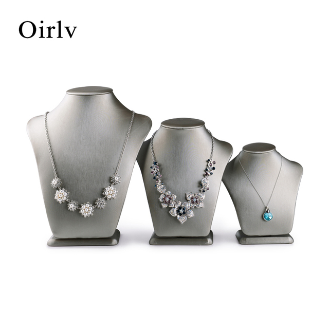 Oirlv China luxury imported PU leather jewellery necklace exhibitor hanger prop high end jewelry holder figurines bust mannequin