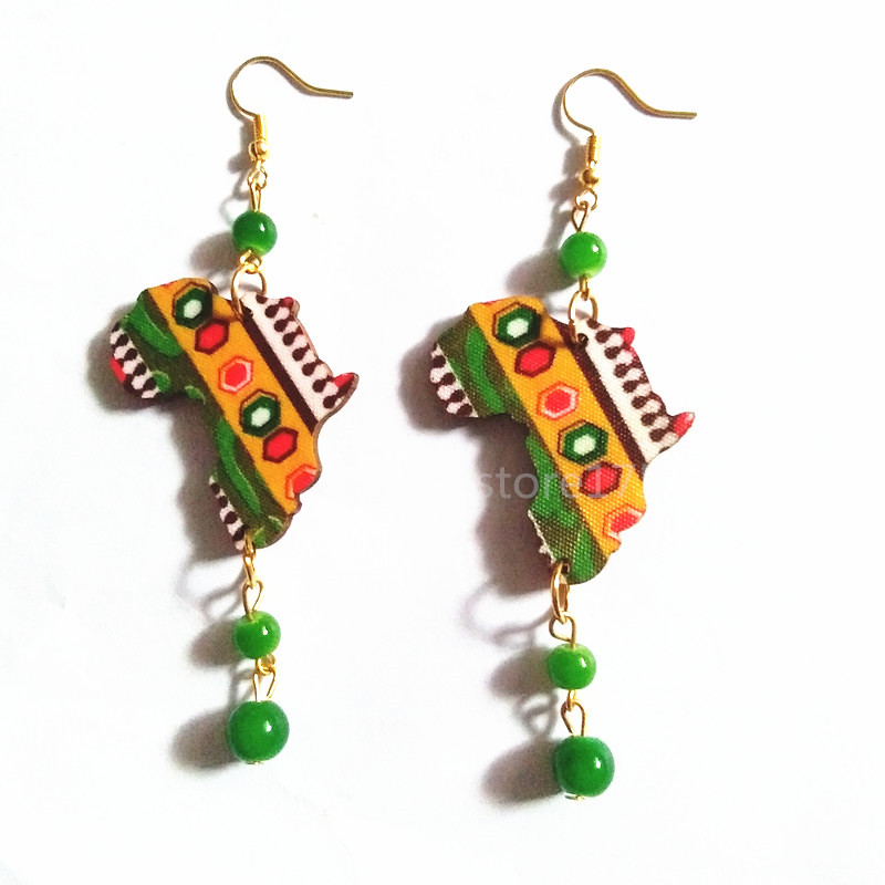Zooying Beads Drop 3D Wood African Map <strong>Earring</strong>