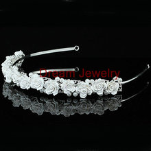 Wholesale Wedding Bridesmaid Prom White Rose Ceramic Headband Tiara custom crowns tiaras wholesale princess crown