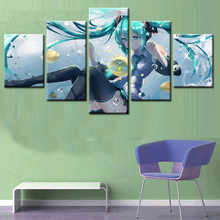 Cartoon Abstract Printed Painting Japanese Animation 5Pieces Without Frame Painting Home Wall Decor