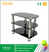 with tempered and stainless tube metal glass tv stand