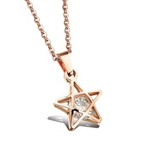 1008N Hollow Clip Inlay White Zircon Rose Gold Titanium Steel Five-Pointed Pendant Necklace