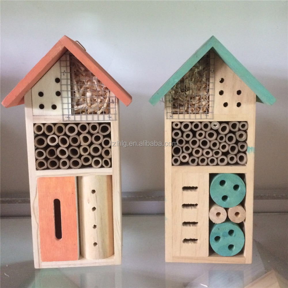 Lasted design simple various wooden bird insect hotel /bee house