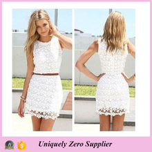 2016 Elegant Sleeveless Crochet White Sundress Embroidered Lace one-piece Pencil Dress