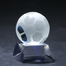 Football sport type home decorative clear glass balls for promotional gifts