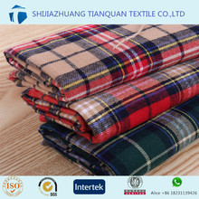 2017 fashion shirt flannel fabric printed big check design cotton/cvc/tc flannel fabric on thailand