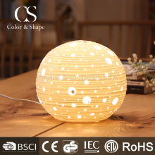 Customize chinese round carved art ceramic table lamp