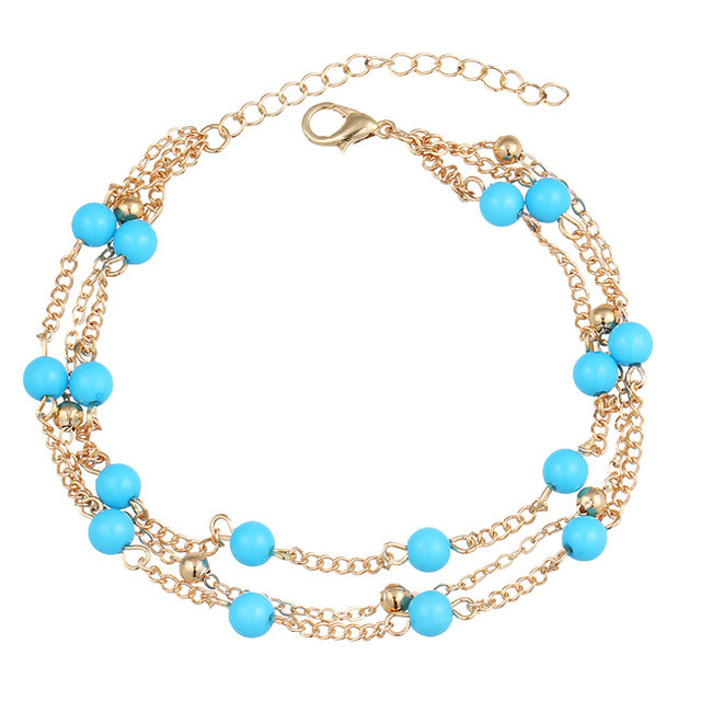 17KM 1 PCS Summer Turquoise Beads Anklet Foot Chain Ankle Snow Bracelet Charm Leaf Anklet Tassel Beach Vintage Foot Jewelry Gift