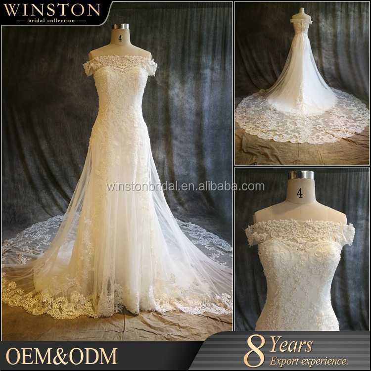OEM manufacturers white and gold wedding dress