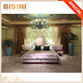 Italy Latest Fashional Luxury Wing Back Design Upholstered King Size Bed With Strong Pink Leather Headboard