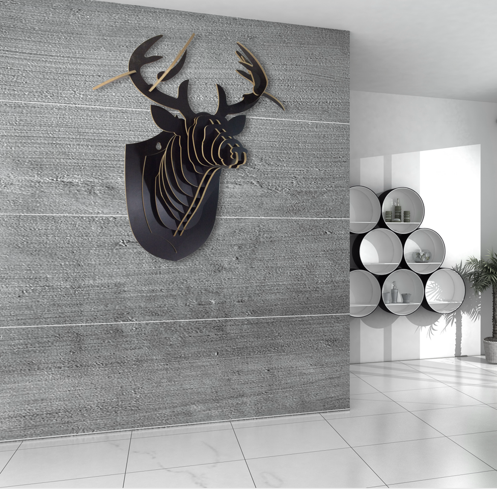 Wooden deer head Custom black Color 3D puzzle Animal head Wall hanging Wood Safari
