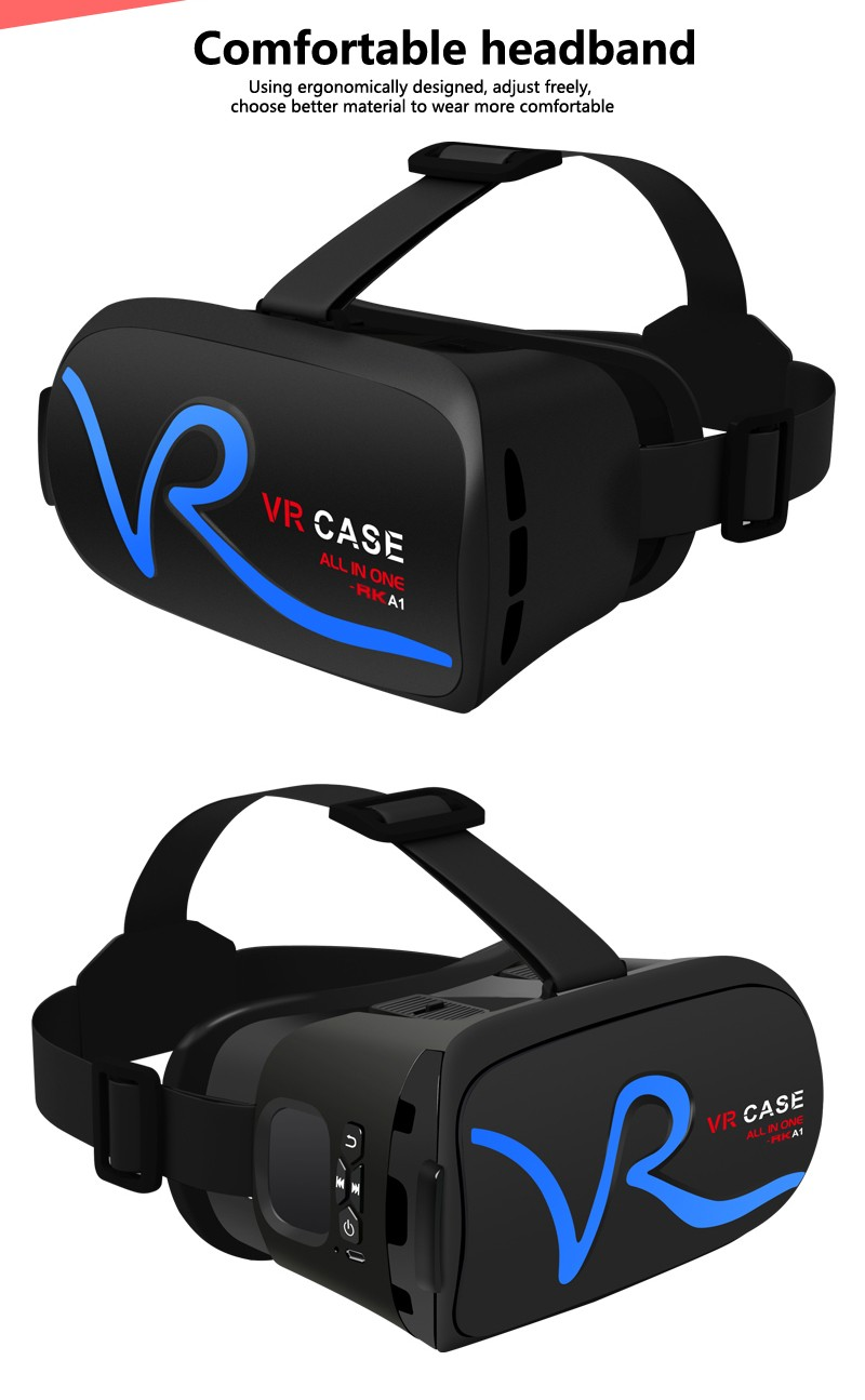 rgknse new design RK-A1 all in one vr case for all samtphone high quality 3d vr upgrade headset for ios and android